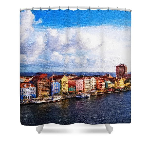 Curacao Oil Shower Curtain by Dean Wittle