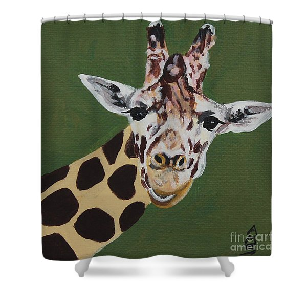 Curious Giraffe Shower Curtain