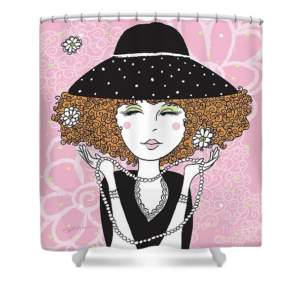 Curly Girl In Polka Dots Shower Curtain