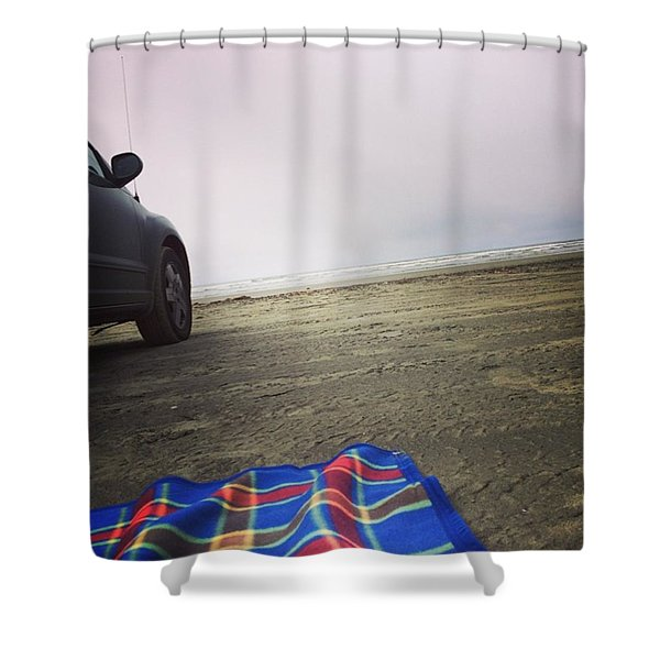 Cloudy Day At The Beach Shower Curtain