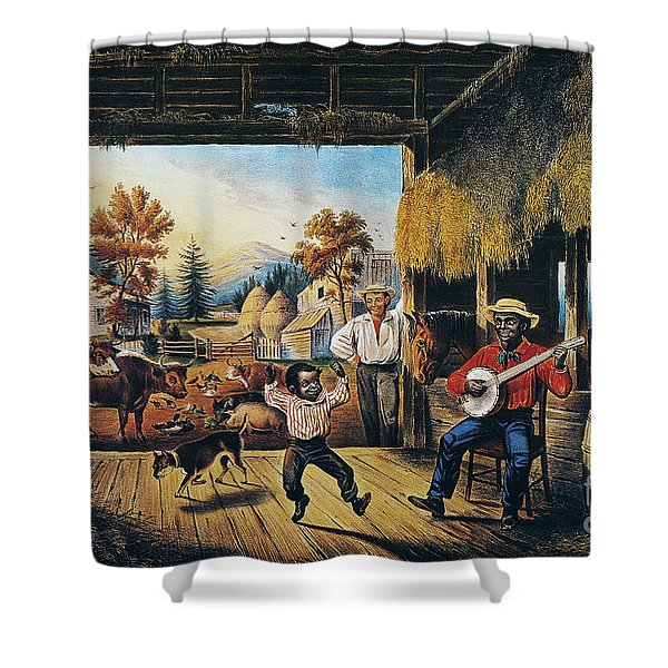 Currier & Ives: Barn Dance Shower Curtain