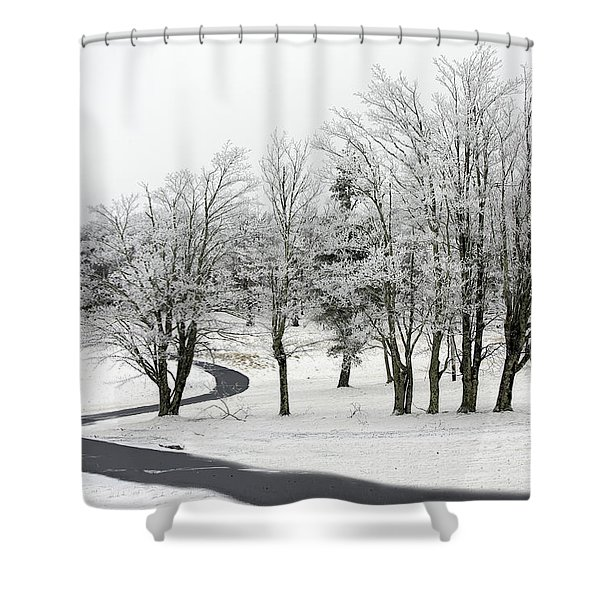 Shower Curtain featuring the photograph Mac Rae Field Curved Path by Ken Barrett