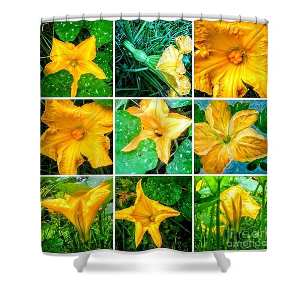 Cushaw Blossom Collage Shower Curtain