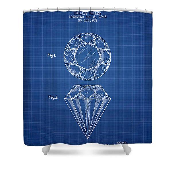Cut Diamond Patent From 1873 - Blueprint Shower Curtain