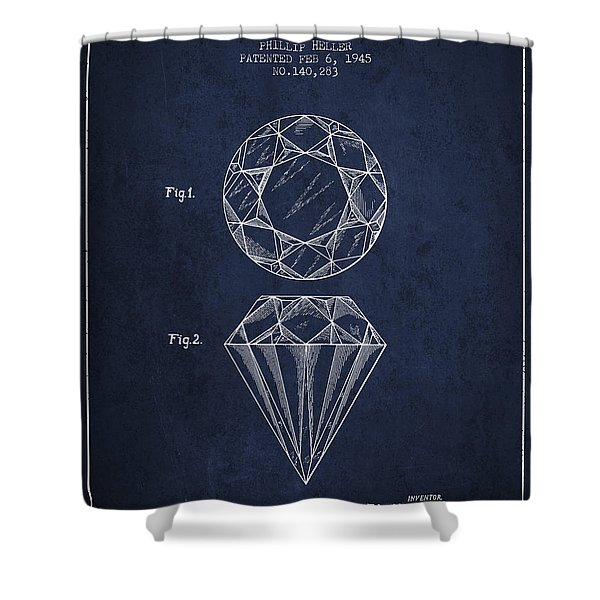 Cut Diamond Patent From 1873 - Navy Blue Shower Curtain