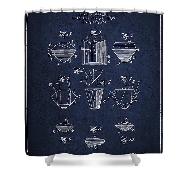 Cut Diamond Patent From 1935 - Navy Blue Shower Curtain