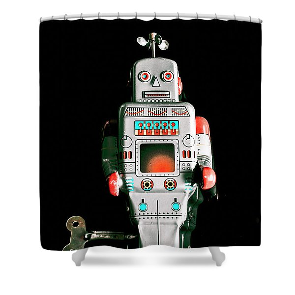 Cute 1970s Robot On Black Background Shower Curtain