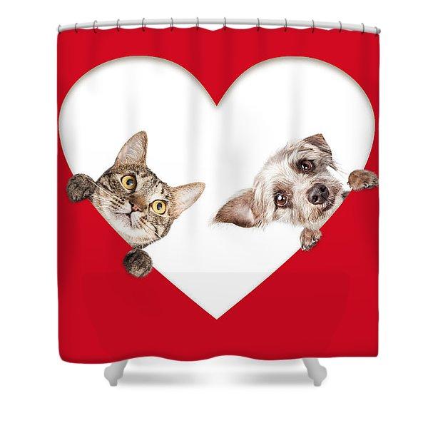Cute Cat And Dog Peeking Out Of Cutout Heart Shower Curtain