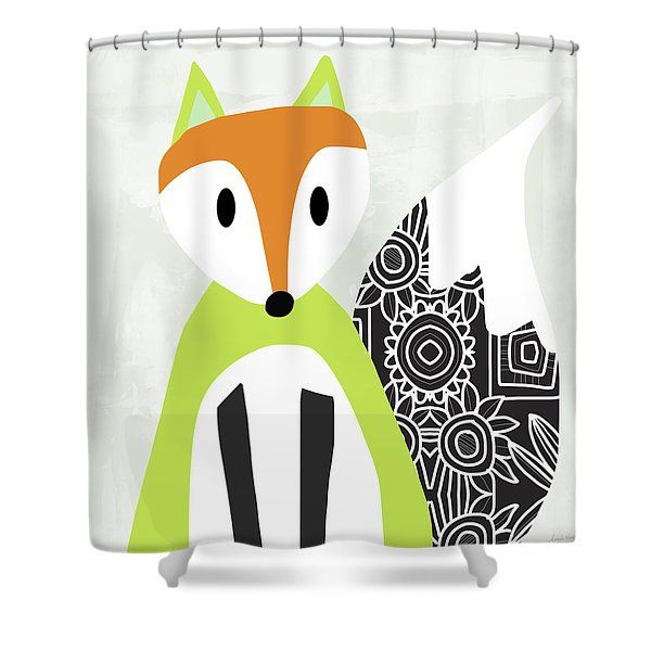 Cute Green And Black Fox- Art By Linda Woods Shower Curtain