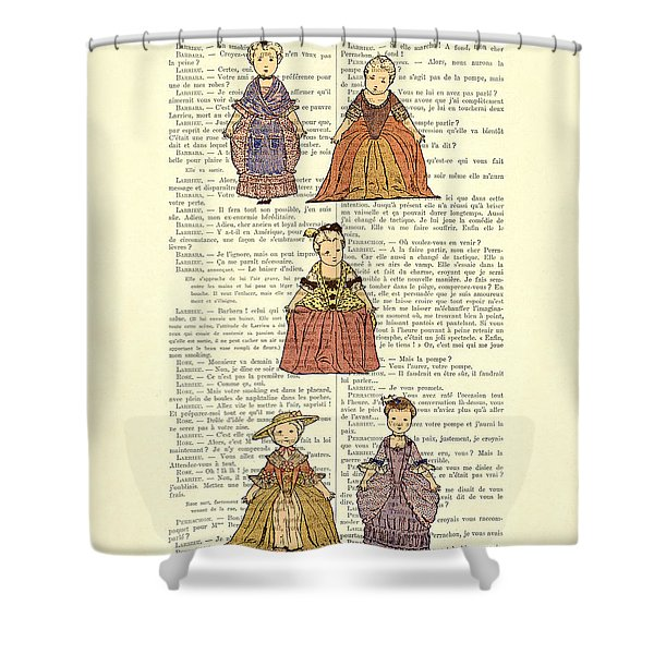 Cute Little Girls Dressed In Victorian Clothes Shower Curtain