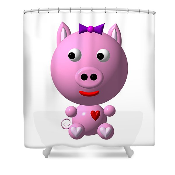 Cute Pink Pig With Purple Bow Shower Curtain