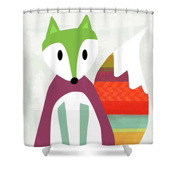 Cute Purple And Green Fox- Art By Linda Woods Shower Curtain