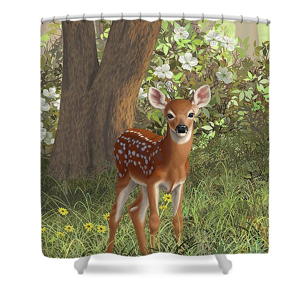 Cute Whitetail Fawn Shower Curtain