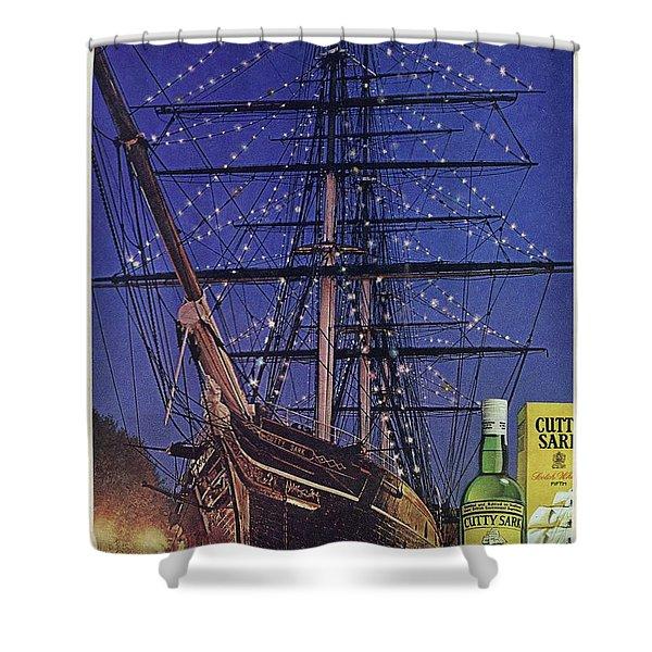 Cutty Sark Christmas Vintage Ad Shower Curtain