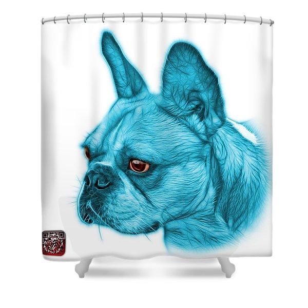 Cyan French Bulldog Pop Art - 0755 Wb Shower Curtain