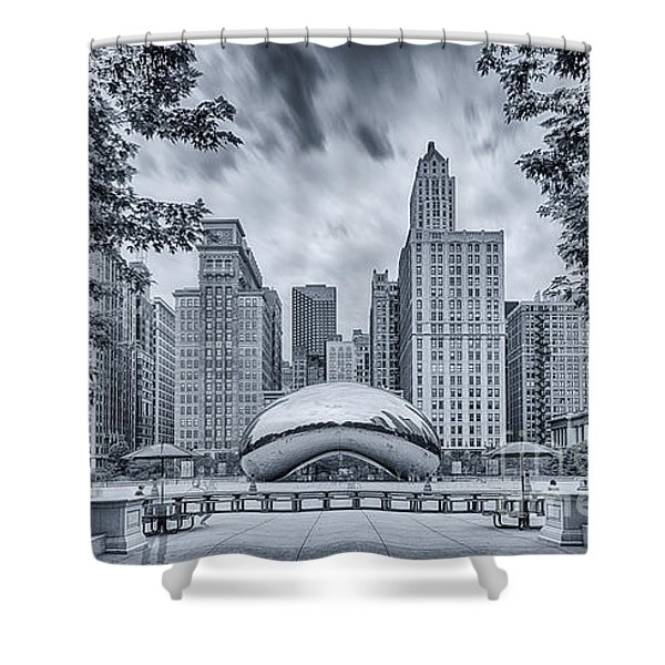 Cyanotype Anish Kapoor Cloud Gate The Bean At Millenium Park - Chicago Illinois Shower Curtain