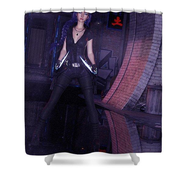 Cyberpunk Assassin Shower Curtain