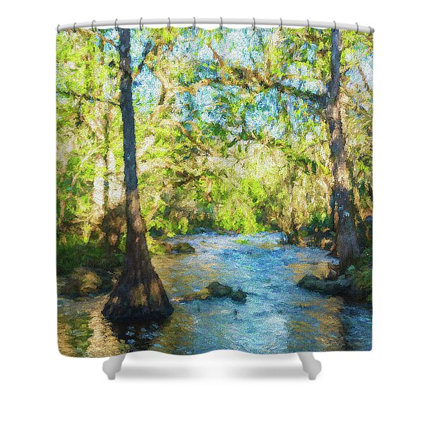 Cypress Trees On The River Shower Curtain