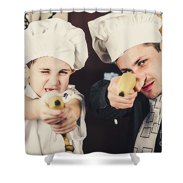 Dad And Son Cooks Shooting With Bananas In Kitchen Shower Curtain