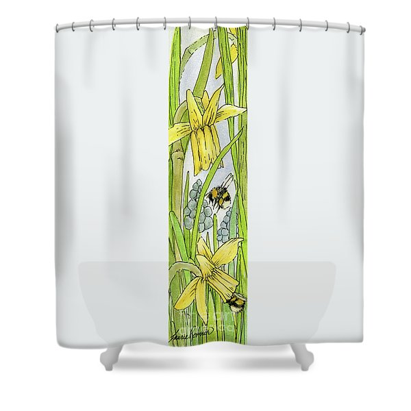 Daffodils And Bees Shower Curtain