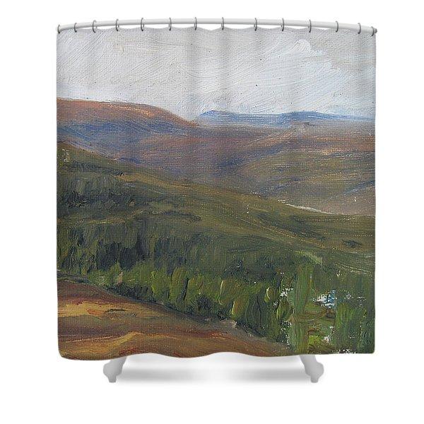 Dagrar Over Salenfjallen - Shifting Daylight Over Distant Horizon 1 Of 10_0034 50x50 Cm Shower Curtain