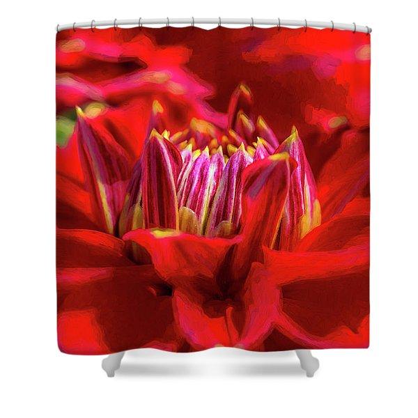Dahlia Study 1 Painterly Shower Curtain