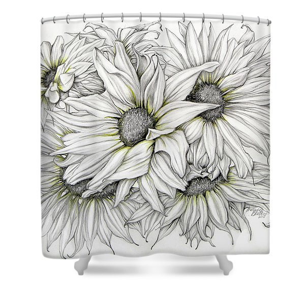 Sunflowers Pencil Shower Curtain