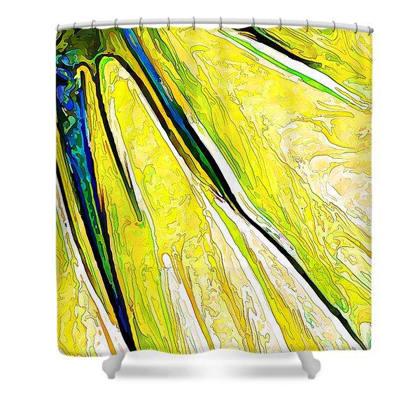Daisy Petal Abstract In Lemon-lime Shower Curtain