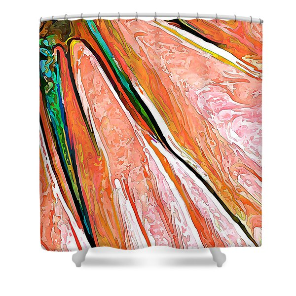 Daisy Petal Abstract In Salmon Shower Curtain