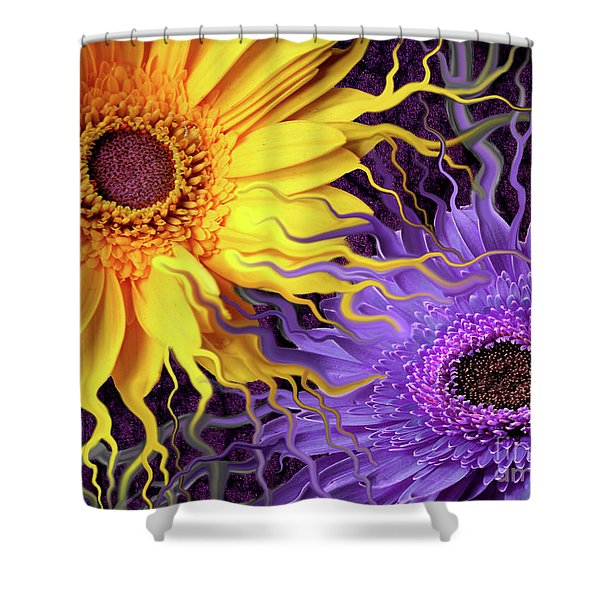 Shower Curtain featuring the painting Daisy Yin Daisy Yang by Christopher Beikmann
