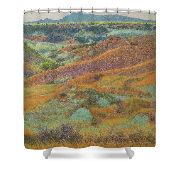 Shower Curtain featuring the pastel Dakota October by Cris Fulton