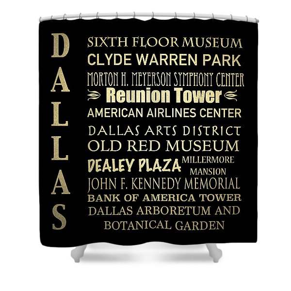 Dallas Famous Landmarks Shower Curtain
