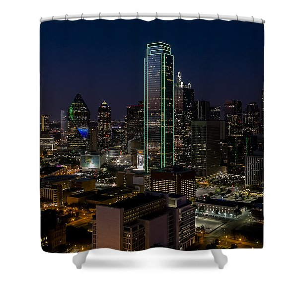 Dallas Skyline Evening Glow Shower Curtain