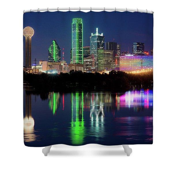 Dallas Skyline Reflection 91317 Shower Curtain