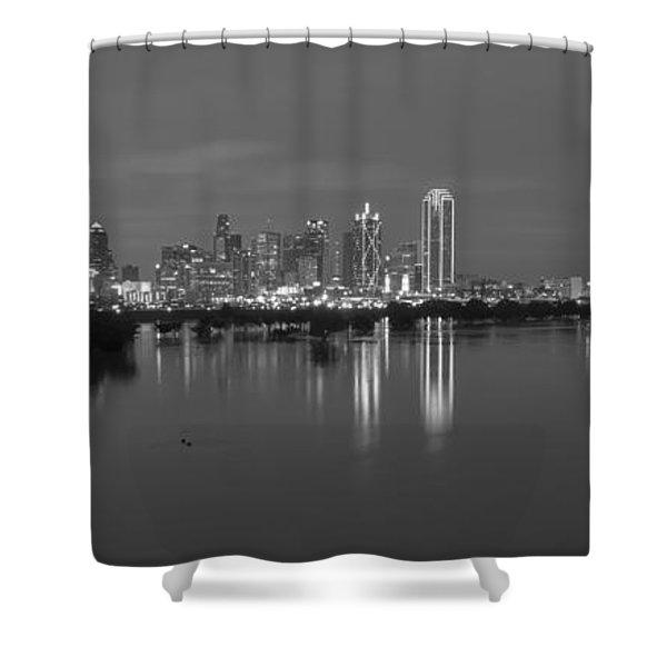 Dallas Skyline Trinity Black And White Shower Curtain