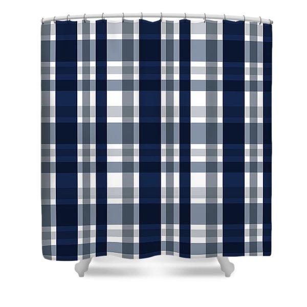Dallas Sports Fan Navy Blue Silver Plaid Striped Shower Curtain