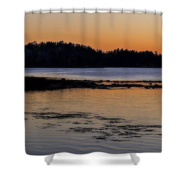 Shower Curtain featuring the photograph Damariscotta Twilight by Tom Singleton