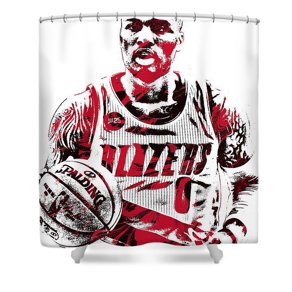 Damian Lillard Portland Trailblazers Pixel Art Shower Curtain