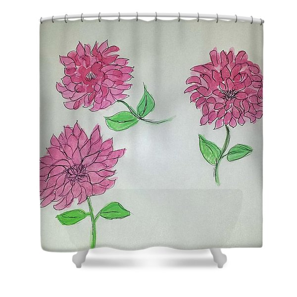 Dance Of The Dahlias Shower Curtain