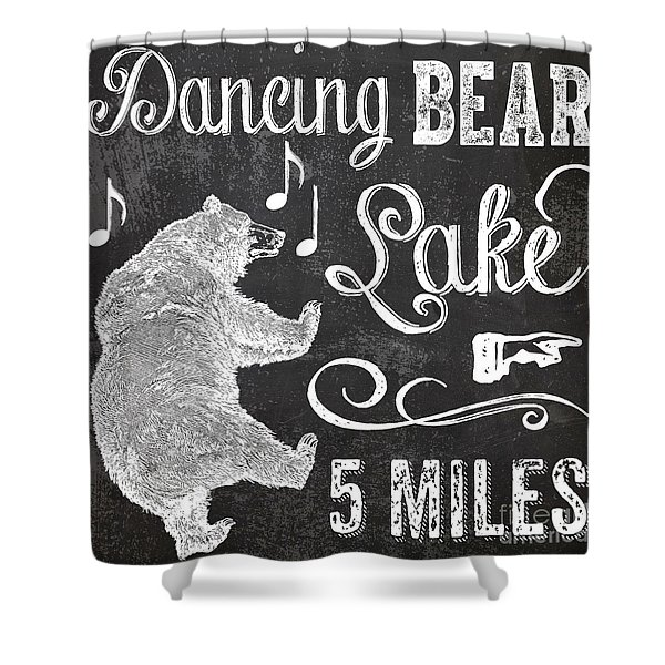 Dancing Bear Lake Rustic Cabin Sign Shower Curtain