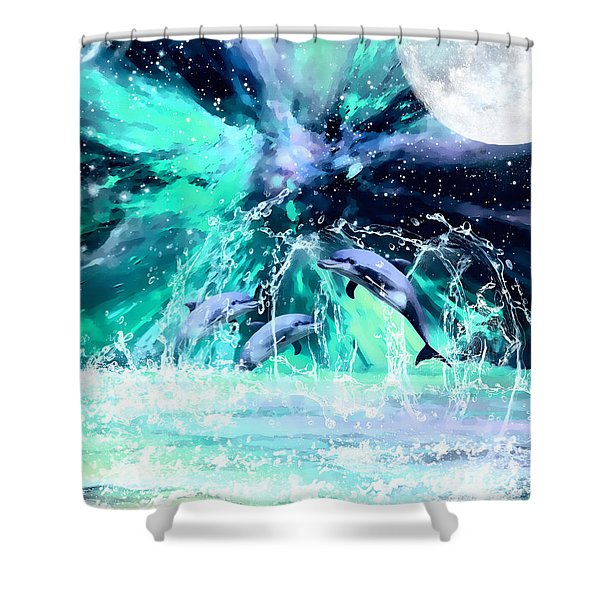 Dancing Dolphins Under The Moon Shower Curtain