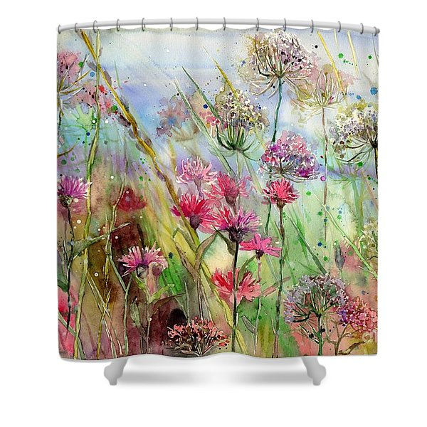 Dancing Thistles Shower Curtain