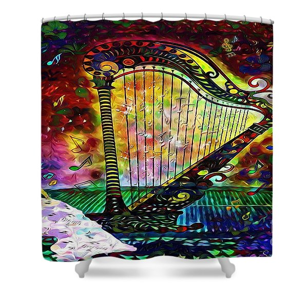 Dancing With The Harp Shower Curtain