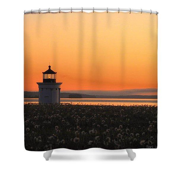 Dandelions At Sunrise Shower Curtain