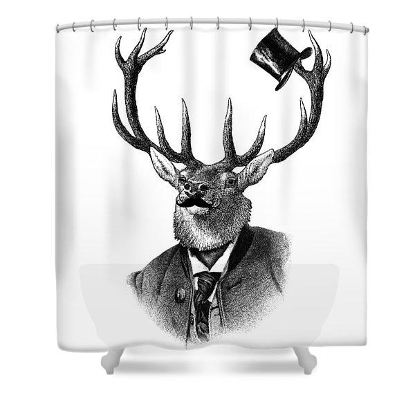 Dandy Deer Portrait Shower Curtain