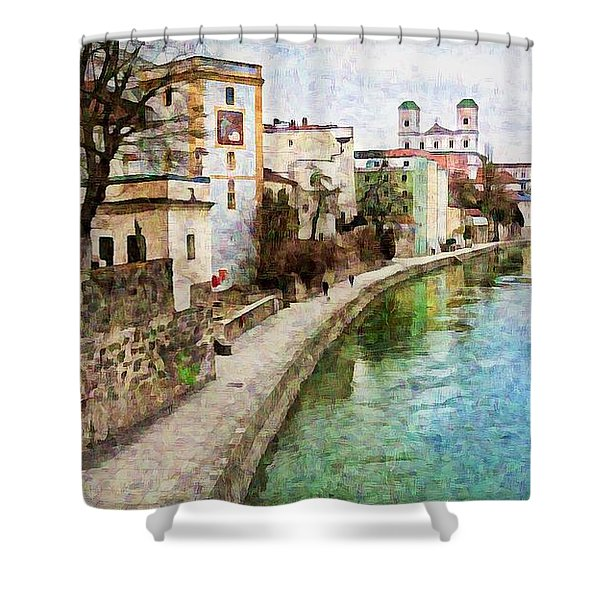 Danube River At Passau, Germany Shower Curtain