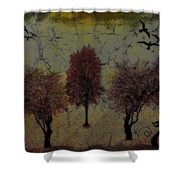 Dark Autumn Night Shower Curtain