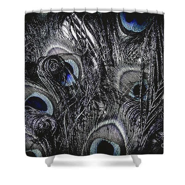 Dark Blue Peacock Feathers  Shower Curtain