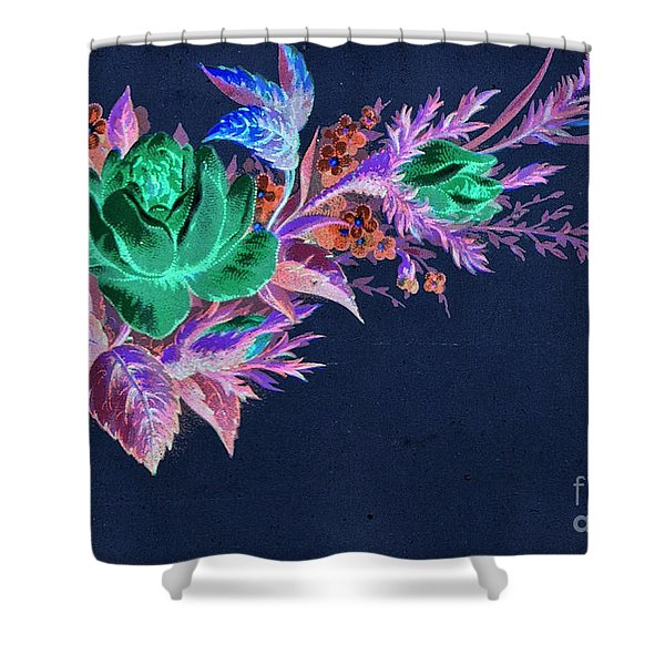 Shower Curtain featuring the mixed media Dark Bouquet by Writermore Arts