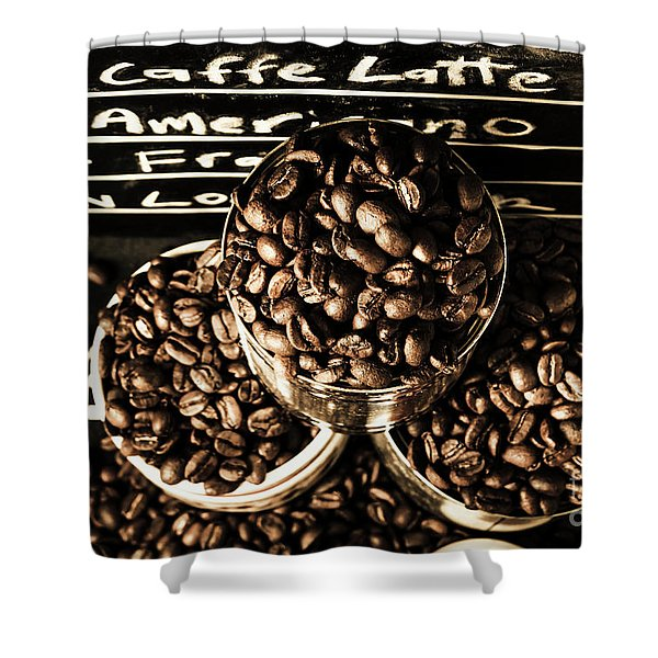 Dark Coffee Shop Shower Curtain